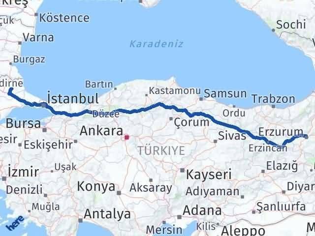 Erzurum Pınarhisar Kırklareli Arası Kaç Km? Arası Kaç Km Saat? Nerede Yol Haritası Yakıt, Rota ve Mesafe Hesaplama