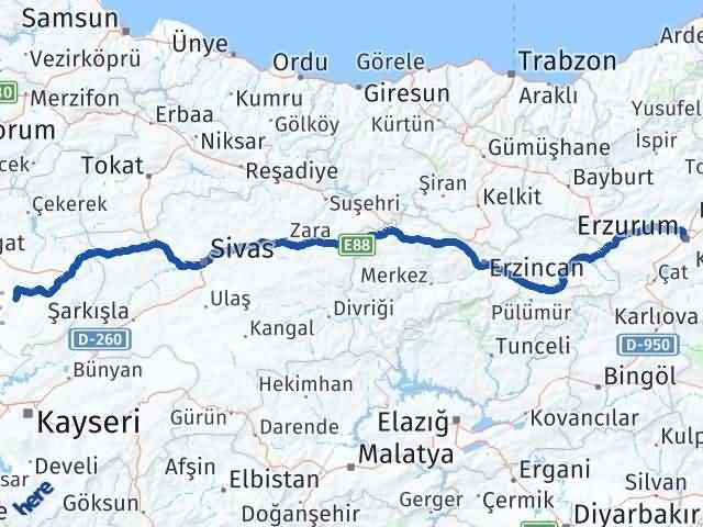 Erzurum Sarıkaya Yozgat Arası Kaç Km? - Kmhesaplama.com Arası Kaç Km Saat? Nerede Yol Haritası Yakıt, Rota ve Mesafe Hesaplama
