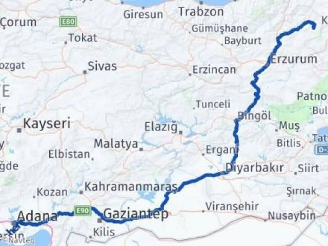 Erzurum Şenkaya Adana Arası Kaç Km? Arası Kaç Km Saat? Nerede Yol Haritası Yakıt, Rota ve Mesafe Hesaplama