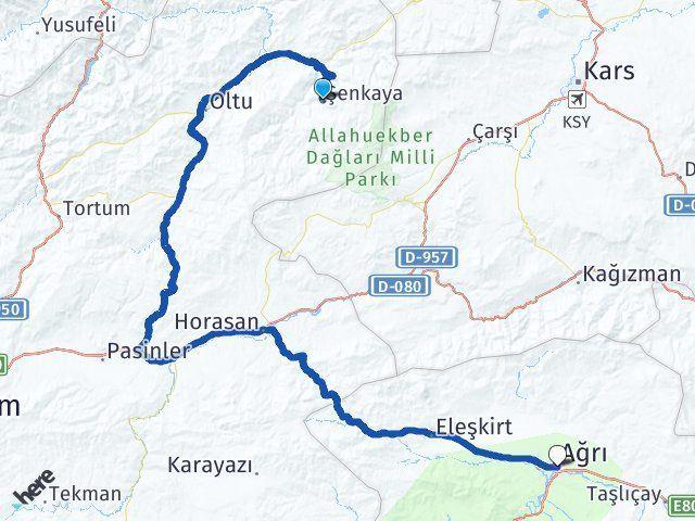 Erzurum Şenkaya Ağrı Arası Kaç Km? Arası Kaç Km Saat? Nerede Yol Haritası Yakıt, Rota ve Mesafe Hesaplama