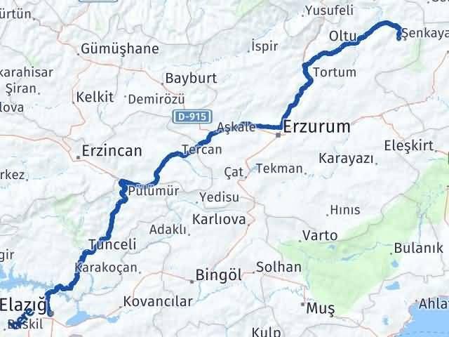 Erzurum Şenkaya Elazığ Arası Kaç Km? Arası Kaç Km Saat? Nerede Yol Haritası Yakıt, Rota ve Mesafe Hesaplama