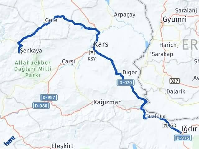Erzurum Şenkaya Iğdır Arası Kaç Km? Arası Kaç Km Saat? Nerede Yol Haritası Yakıt, Rota ve Mesafe Hesaplama