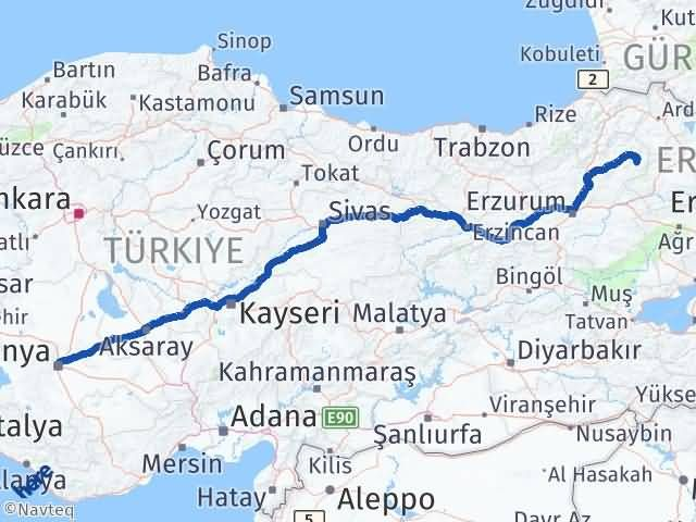 Erzurum Şenkaya Konya Arası Kaç Km? Arası Kaç Km Saat? Nerede Yol Haritası Yakıt, Rota ve Mesafe Hesaplama