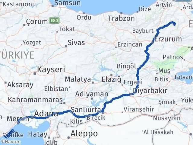 Erzurum Şenkaya Mersin Arası Kaç Km? Arası Kaç Km Saat? Nerede Yol Haritası Yakıt, Rota ve Mesafe Hesaplama