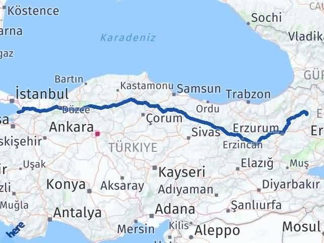 Erzurum Şenkaya Yalova Arası Kaç Km? Arası Kaç Km Saat? Nerede Yol Haritası Yakıt, Rota ve Mesafe Hesaplama