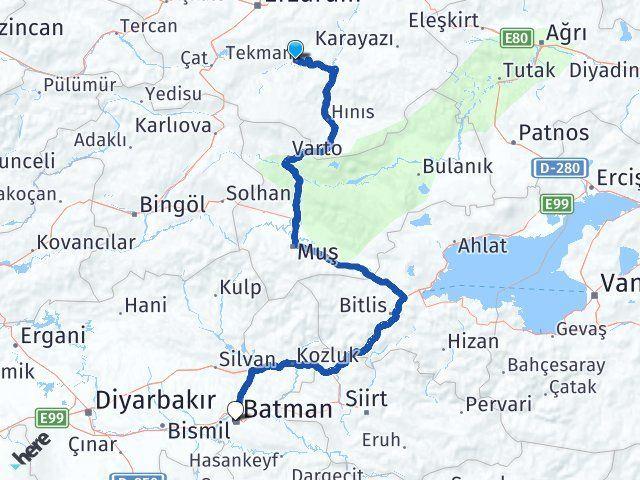 Erzurum Tekman Batman Arası Kaç Km? Arası Kaç Km Saat? Nerede Yol Haritası Yakıt, Rota ve Mesafe Hesaplama