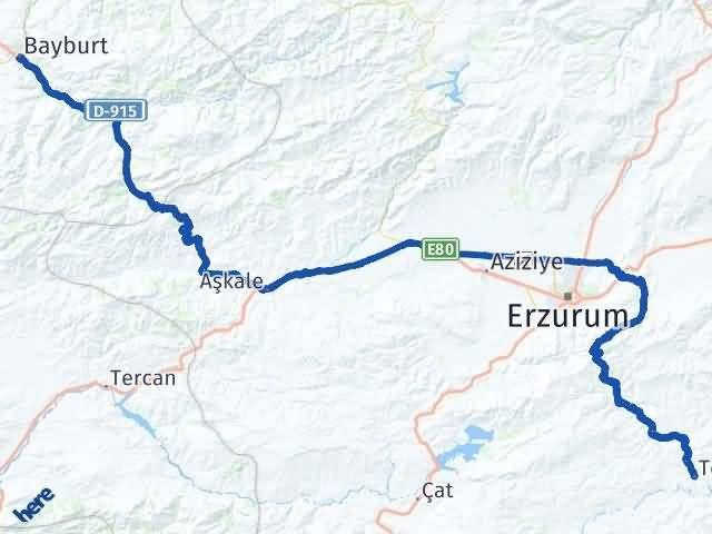 Erzurum Tekman Bayburt Arası Kaç Km? Arası Kaç Km Saat? Nerede Yol Haritası Yakıt, Rota ve Mesafe Hesaplama