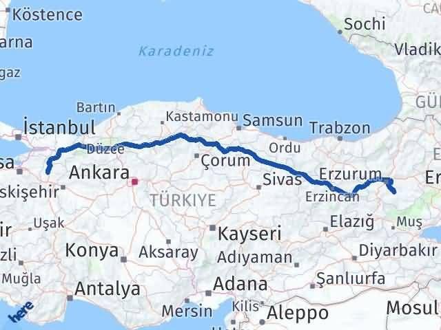 Erzurum Tekman Bilecik Arası Kaç Km? Arası Kaç Km Saat? Nerede Yol Haritası Yakıt, Rota ve Mesafe Hesaplama