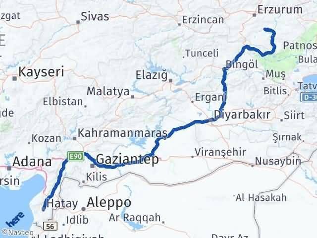 Erzurum Tekman Hatay Arası Kaç Km? Arası Kaç Km Saat? Nerede Yol Haritası Yakıt, Rota ve Mesafe Hesaplama