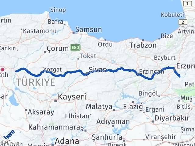 Erzurum Tekman Kırıkkale Arası Kaç Km? Arası Kaç Km Saat? Nerede Yol Haritası Yakıt, Rota ve Mesafe Hesaplama