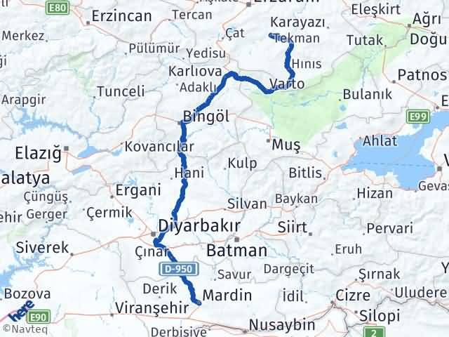 Erzurum Tekman Mardin Arası Kaç Km? Arası Kaç Km Saat? Nerede Yol Haritası Yakıt, Rota ve Mesafe Hesaplama