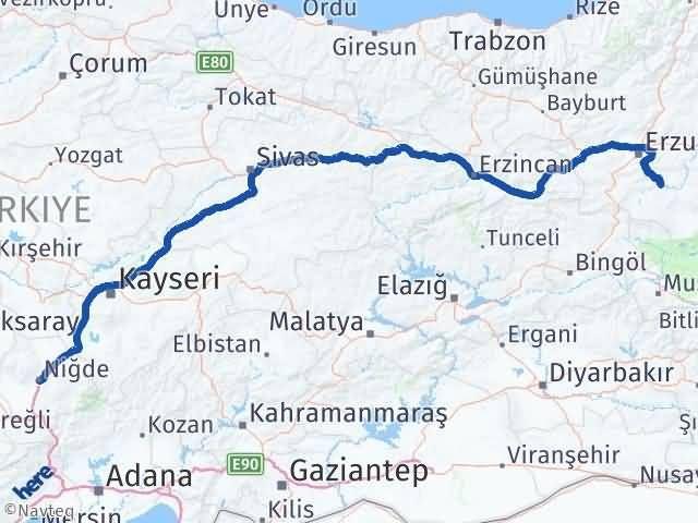 Erzurum Tekman Niğde Arası Kaç Km? Arası Kaç Km Saat? Nerede Yol Haritası Yakıt, Rota ve Mesafe Hesaplama