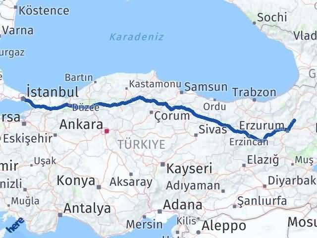 Erzurum Tortum İstanbul Arası Kaç Km? Arası Kaç Km Saat? Nerede Yol Haritası Yakıt, Rota ve Mesafe Hesaplama