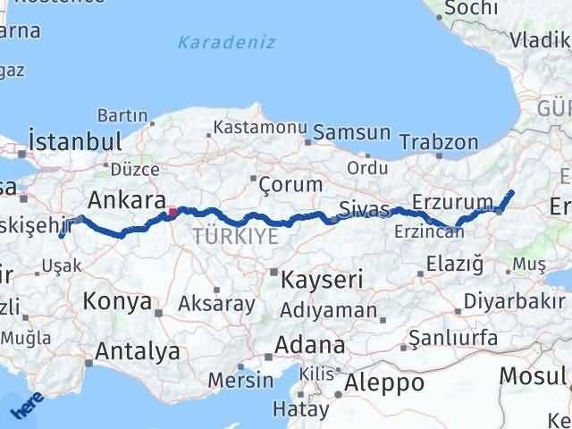 Erzurum Tortum Kütahya Arası Kaç Km? Arası Kaç Km Saat? Nerede Yol Haritası Yakıt, Rota ve Mesafe Hesaplama