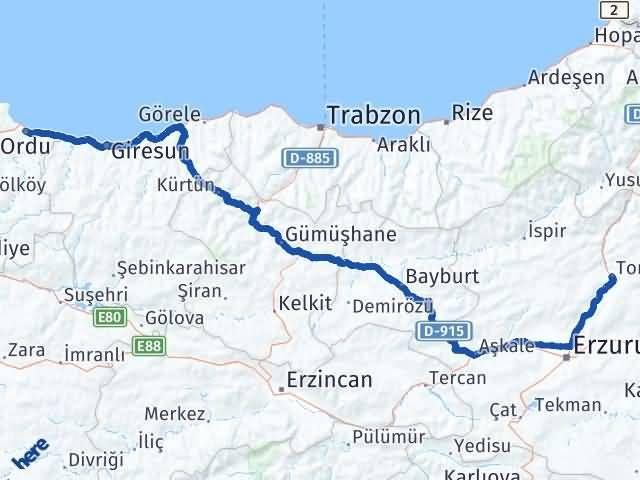 Erzurum Tortum Ordu Arası Kaç Km? Arası Kaç Km Saat? Nerede Yol Haritası Yakıt, Rota ve Mesafe Hesaplama