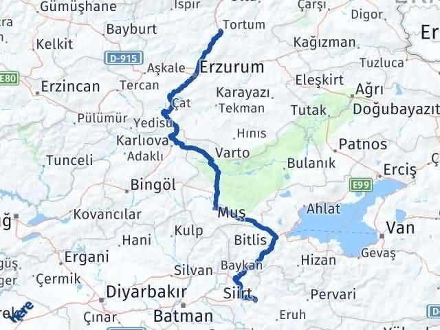 Erzurum Tortum Siirt Arası Kaç Km? Arası Kaç Km Saat? Nerede Yol Haritası Yakıt, Rota ve Mesafe Hesaplama
