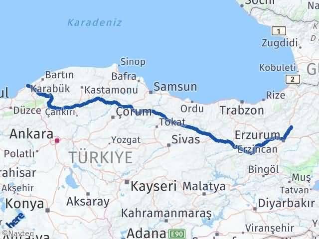 Erzurum Tortum Zonguldak Arası Kaç Km? Arası Kaç Km Saat? Nerede Yol Haritası Yakıt, Rota ve Mesafe Hesaplama