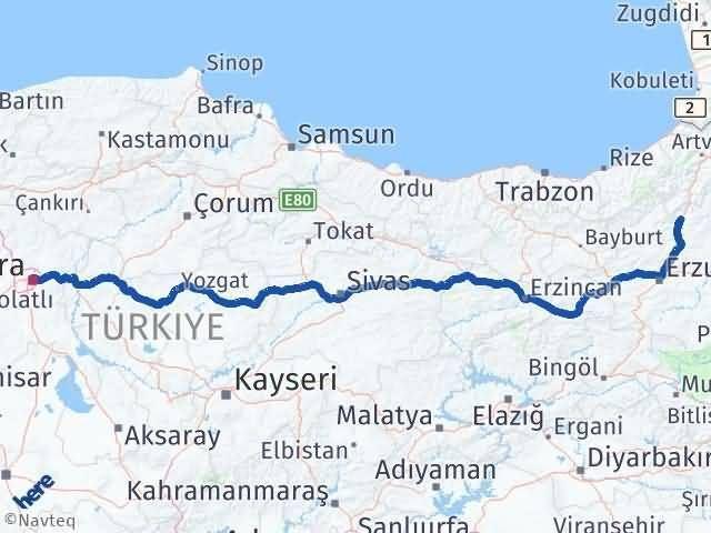 Erzurum Uzundere Ankara Arası Kaç Km? Arası Kaç Km Saat? Nerede Yol Haritası Yakıt, Rota ve Mesafe Hesaplama