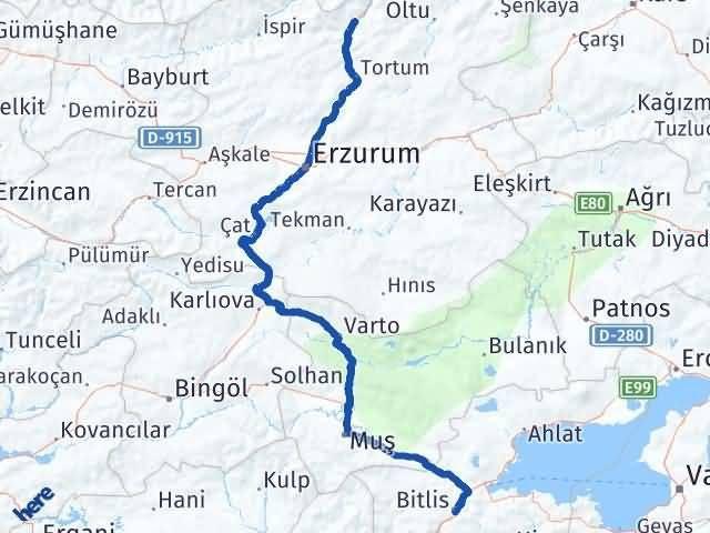 Erzurum Uzundere Bitlis Arası Kaç Km? Arası Kaç Km Saat? Nerede Yol Haritası Yakıt, Rota ve Mesafe Hesaplama