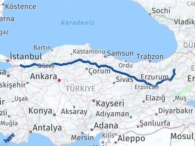 Erzurum Uzundere Kocaeli Arası Kaç Km? Arası Kaç Km Saat? Nerede Yol Haritası Yakıt, Rota ve Mesafe Hesaplama