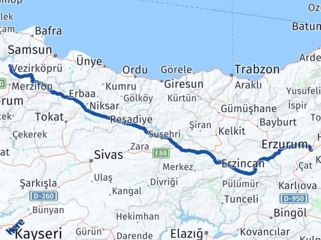 Erzurum Vezirköprü Samsun Arası Kaç Km? - Kmhesaplama.com Arası Kaç Km Saat? Nerede Yol Haritası Yakıt, Rota ve Mesafe Hesaplama
