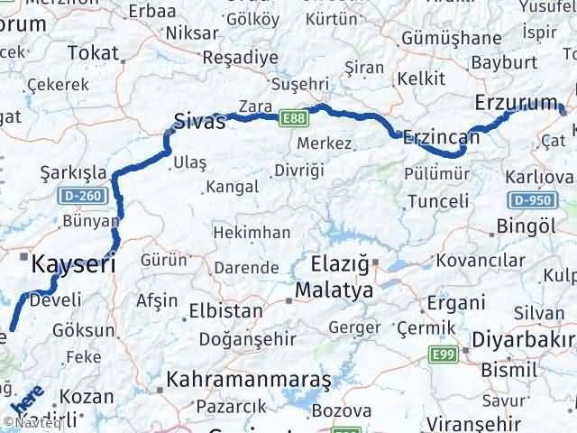 Erzurum Yahyalı Kayseri Arası Kaç Km? - Kmhesaplama.com Arası Kaç Km Saat? Nerede Yol Haritası Yakıt, Rota ve Mesafe Hesaplama