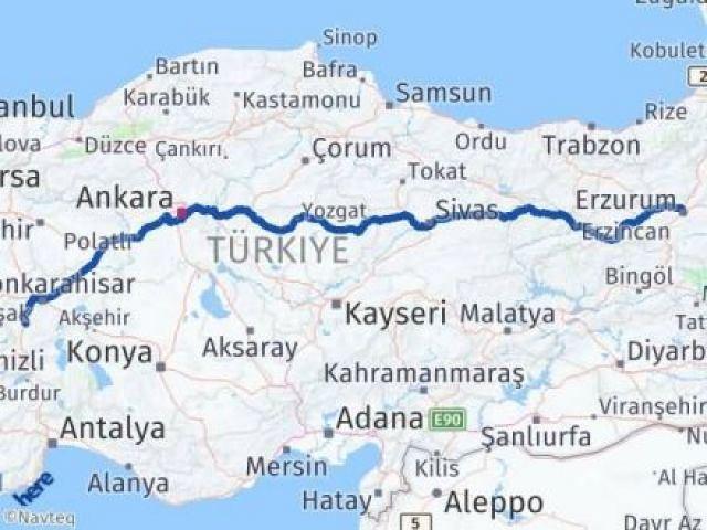 Erzurum Yakutiye Afyon Arası Kaç Km? Arası Kaç Km Saat? Nerede Yol Haritası Yakıt, Rota ve Mesafe Hesaplama