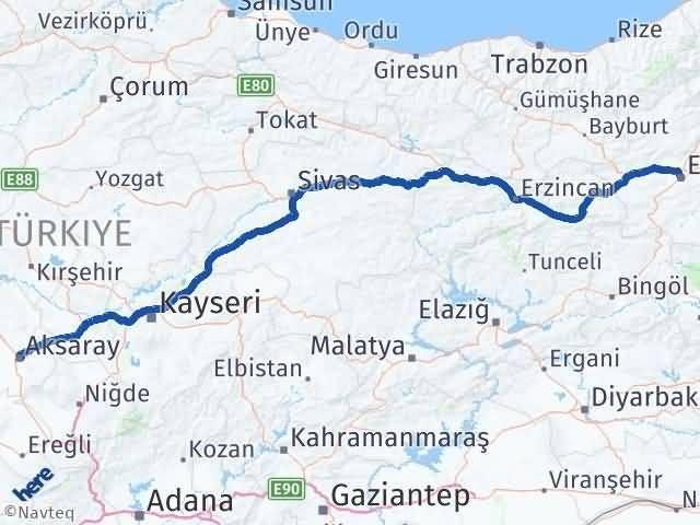 Erzurum Yakutiye Aksaray Arası Kaç Km? Arası Kaç Km Saat? Nerede Yol Haritası Yakıt, Rota ve Mesafe Hesaplama