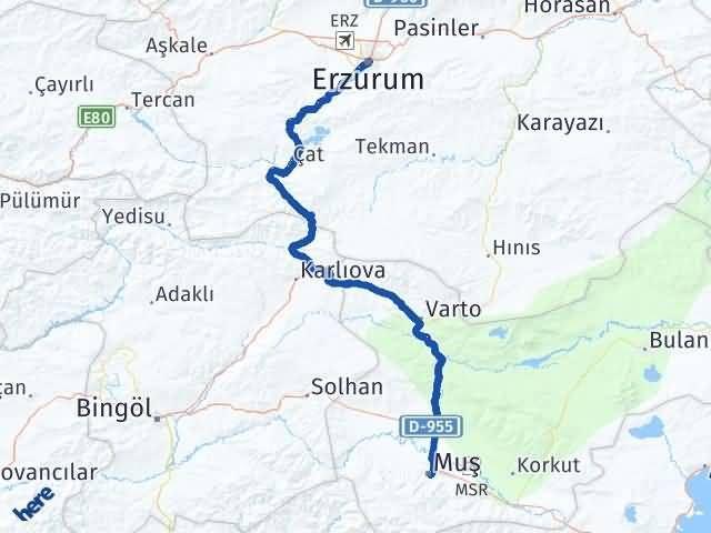 Erzurum Yakutiye Muş Arası Kaç Km? Arası Kaç Km Saat? Nerede Yol Haritası Yakıt, Rota ve Mesafe Hesaplama