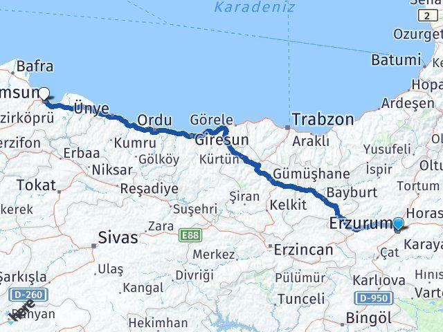 Erzurum Yakutiye Samsun Arası Kaç Km? Arası Kaç Km Saat? Nerede Yol Haritası Yakıt, Rota ve Mesafe Hesaplama