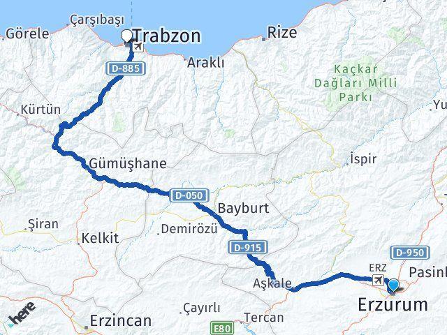 Erzurum Yakutiye Trabzon Arası Kaç Km? Arası Kaç Km Saat? Nerede Yol Haritası Yakıt, Rota ve Mesafe Hesaplama