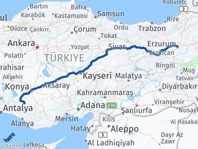 Erzurum Yalıhüyük Konya Arası Kaç Km? - Kmhesaplama.com Arası Kaç Km Saat? Nerede Yol Haritası Yakıt, Rota ve Mesafe Hesaplama