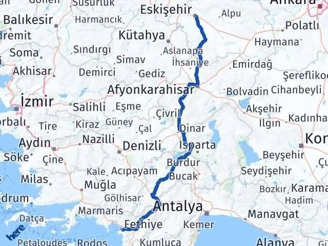 Eskişehir Fethiye Arası Kaç Km? Arası Kaç Km Saat? Nerede Yol Haritası Yakıt, Rota ve Mesafe Hesaplama