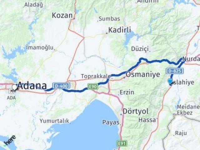 Gaziantep İslahiye Adana Arası Kaç Km? Arası Kaç Km Saat? Nerede Yol Haritası Yakıt, Rota ve Mesafe Hesaplama