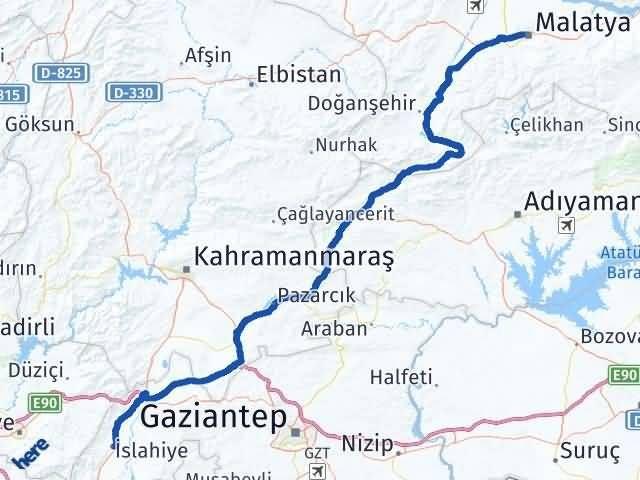 Gaziantep İslahiye Malatya Arası Kaç Km? Arası Kaç Km Saat? Nerede Yol Haritası Yakıt, Rota ve Mesafe Hesaplama