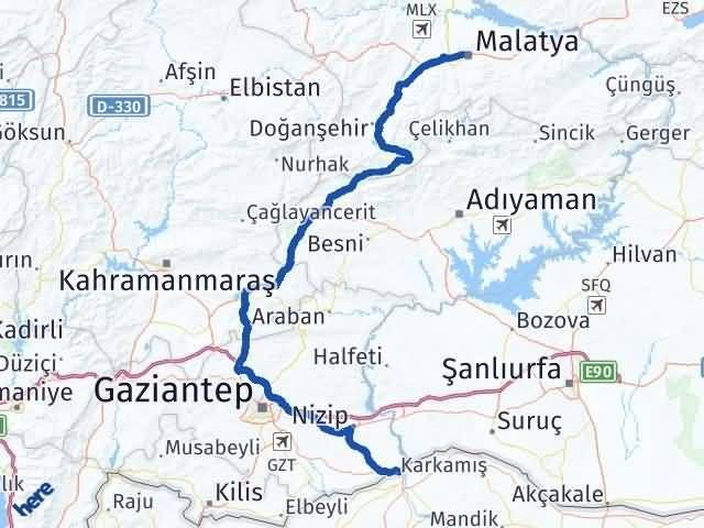 Gaziantep Karkamış Malatya Arası Kaç Km? Arası Kaç Km Saat? Nerede Yol Haritası Yakıt, Rota ve Mesafe Hesaplama