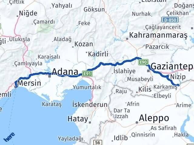 Gaziantep Karkamış Mersin Arası Kaç Km? Arası Kaç Km Saat? Nerede Yol Haritası Yakıt, Rota ve Mesafe Hesaplama