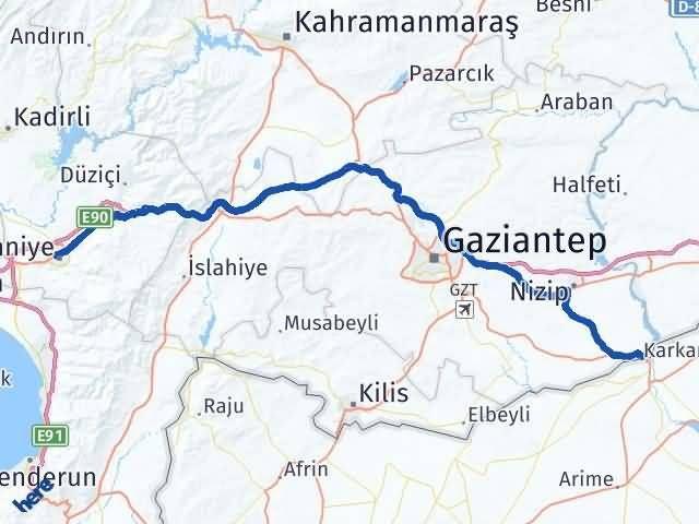 Gaziantep Karkamış Osmaniye Arası Kaç Km? Arası Kaç Km Saat? Nerede Yol Haritası Yakıt, Rota ve Mesafe Hesaplama