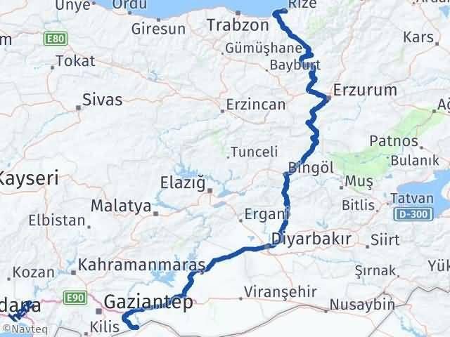 Gaziantep Karkamış Rize Arası Kaç Km? Arası Kaç Km Saat? Nerede Yol Haritası Yakıt, Rota ve Mesafe Hesaplama