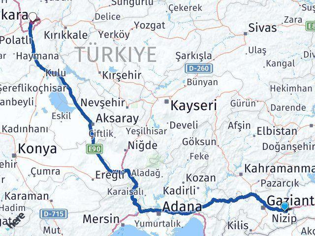 Gaziantep Nizip Ankara Arası Kaç Km? Arası Kaç Km Saat? Nerede Yol Haritası Yakıt, Rota ve Mesafe Hesaplama