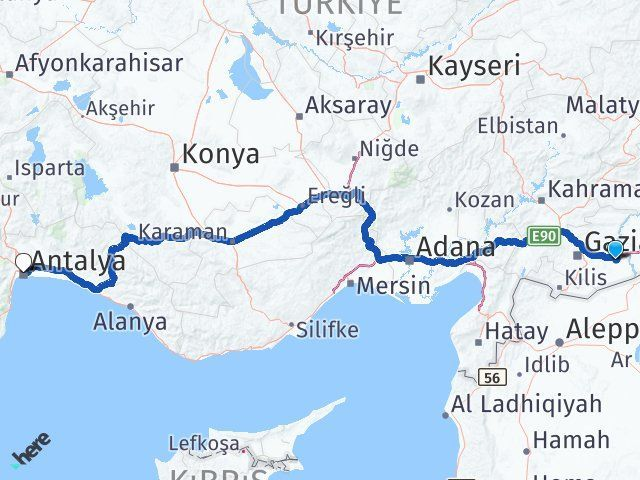 Gaziantep Nizip Antalya Arası Kaç Km? Arası Kaç Km Saat? Nerede Yol Haritası Yakıt, Rota ve Mesafe Hesaplama