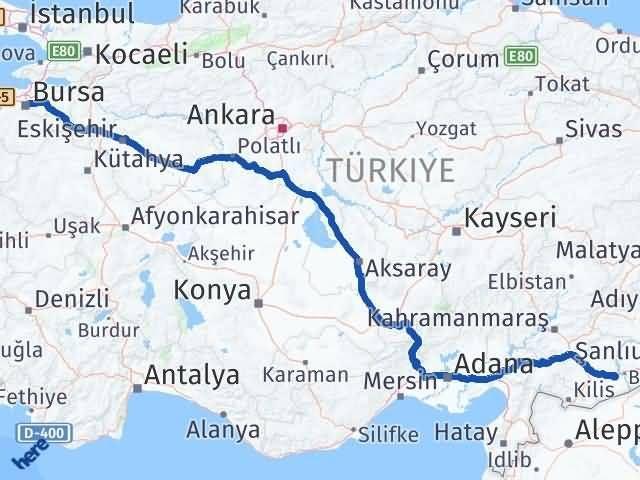 Gaziantep Nizip Bursa Arası Kaç Km? Arası Kaç Km Saat? Nerede Yol Haritası Yakıt, Rota ve Mesafe Hesaplama