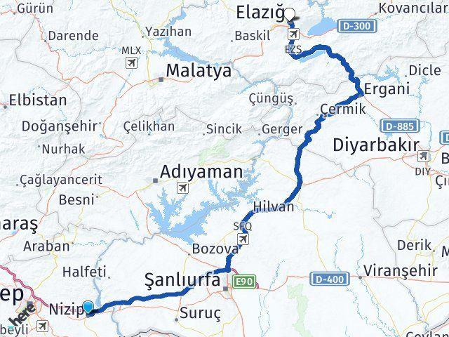 Gaziantep Nizip Elazığ Arası Kaç Km? Arası Kaç Km Saat? Nerede Yol Haritası Yakıt, Rota ve Mesafe Hesaplama