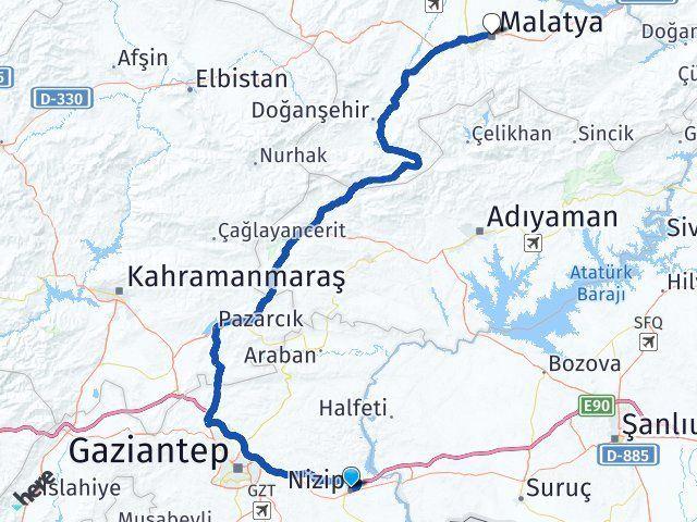 Gaziantep Nizip Malatya Arası Kaç Km? Arası Kaç Km Saat? Nerede Yol Haritası Yakıt, Rota ve Mesafe Hesaplama