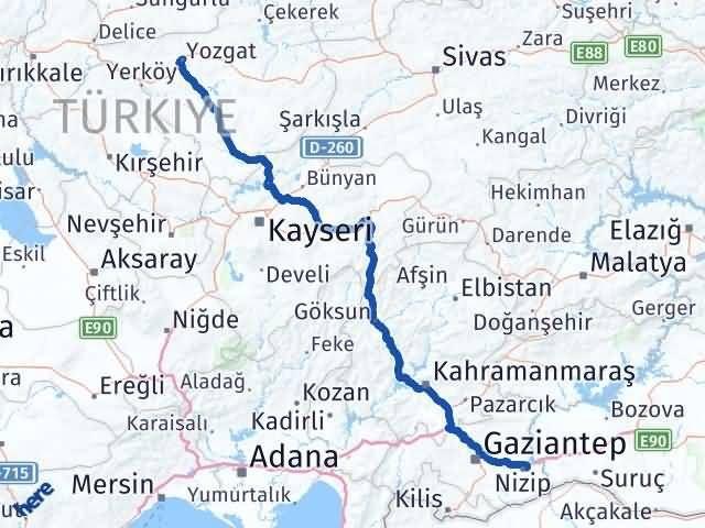 Gaziantep Nizip Yozgat Arası Kaç Km? Arası Kaç Km Saat? Nerede Yol Haritası Yakıt, Rota ve Mesafe Hesaplama