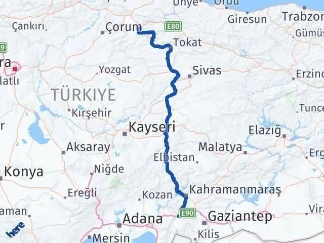 Gaziantep Nurdağı Amasya Arası Kaç Km? Arası Kaç Km Saat? Nerede Yol Haritası Yakıt, Rota ve Mesafe Hesaplama