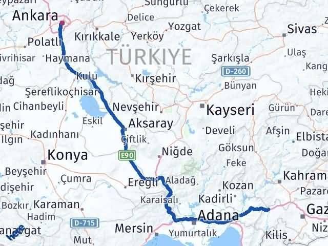 Gaziantep Nurdağı Ankara Arası Kaç Km? Arası Kaç Km Saat? Nerede Yol Haritası Yakıt, Rota ve Mesafe Hesaplama