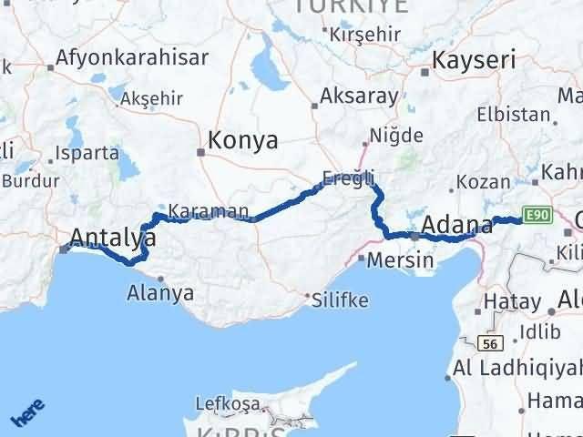 Gaziantep Nurdağı Antalya Arası Kaç Km? Arası Kaç Km Saat? Nerede Yol Haritası Yakıt, Rota ve Mesafe Hesaplama