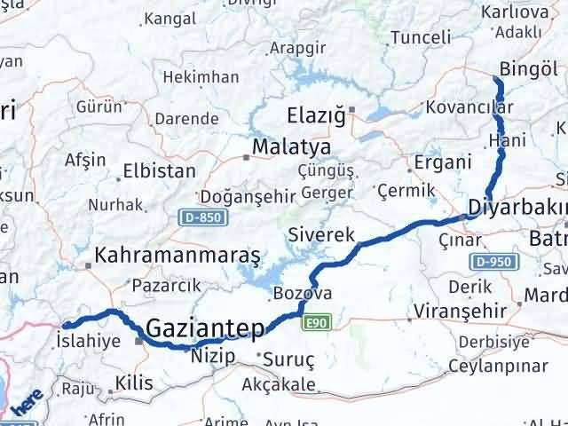 Gaziantep Nurdağı Bingöl Arası Kaç Km? Arası Kaç Km Saat? Nerede Yol Haritası Yakıt, Rota ve Mesafe Hesaplama