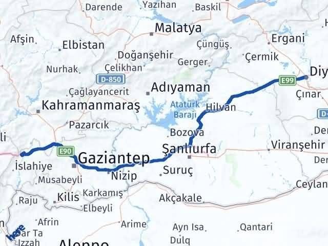 Gaziantep Nurdağı Diyarbakır Arası Kaç Km? Arası Kaç Km Saat? Nerede Yol Haritası Yakıt, Rota ve Mesafe Hesaplama